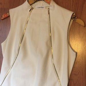 Calvin Klein White Dress with Gold zippers
